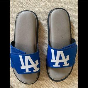 LA Dodger Velcro Close Cushioned Foot Bed Slides
